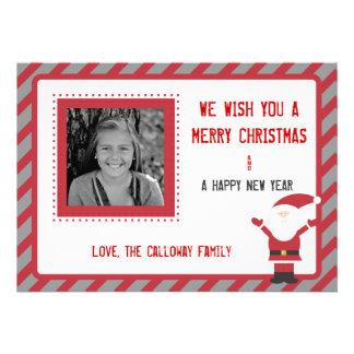 Santa Claus Striped Christmas Card