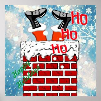 Santa Claus stuck in chimney Poster