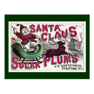 Santa Claus Sugar Plums - Vintage Christmas Postcard