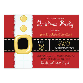 Santa Claus Suit Christmas Holiday Party 5x7 Paper Invitation Card