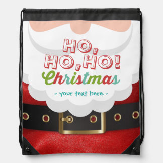 Santa Claus Suit Ho Ho Ho Christmas Happy New Year Drawstring Backpack