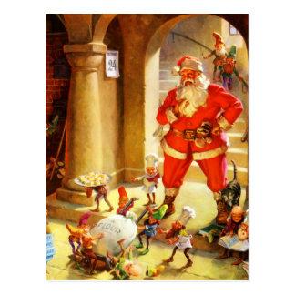 Santa Claus Supervises His Elves Baking Cookies Postcard