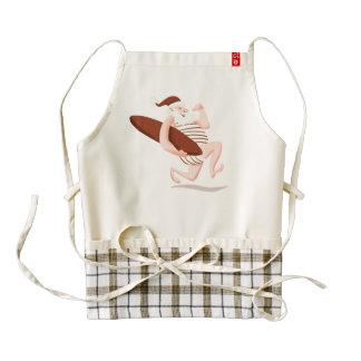Santa claus surfing-santa claus cartoon-santa run zazzle HEART apron