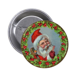 Santa Claus Surrounded By Wreath Pinback Button