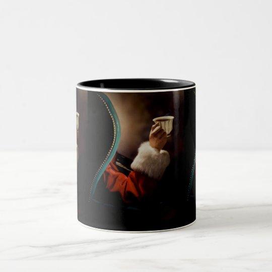 Santa Claus taking a break on Christmas Eve Two-Tone Coffee Mug