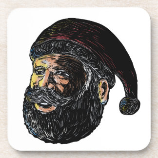 Santa Claus Three-Quarter View Scratchboard Coaster