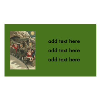 Santa Claus Train Holly Garland Children Double-Sided Standard Business Cards (Pack Of 100)