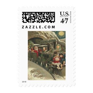 Santa Claus Train Holly Garland Children Postage