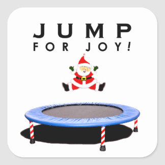 Santa Claus Trampolining Square Sticker
