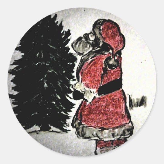 santa claus & tree classic round sticker