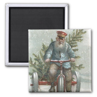 Santa Claus Tricycle Delivering Christmas Tree Magnet