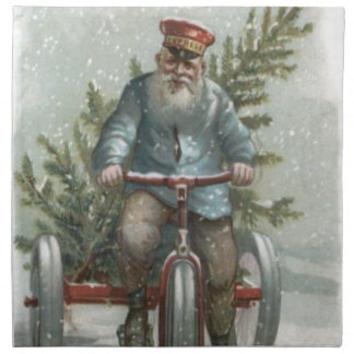 Santa Claus Tricycle Delivering Christmas Tree Napkin