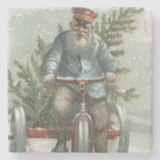 Santa Claus Tricycle Delivering Christmas Tree Stone Beverage Coaster