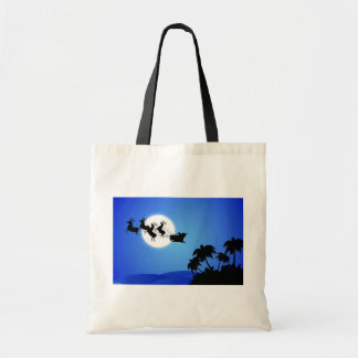 Santa Claus Tropical Christmas Tree Budget Tote Bag