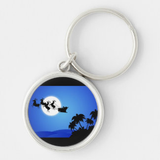 Santa Claus Tropical Christmas Tree Key Chains