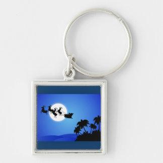 Santa Claus Tropical Christmas Tree Keychain