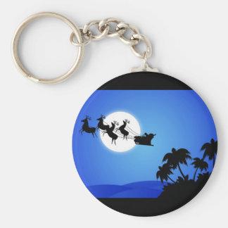 Santa Claus Tropical Christmas Tree Keychains