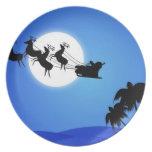 Santa Claus Tropical Christmas Tree Melamine Plate
