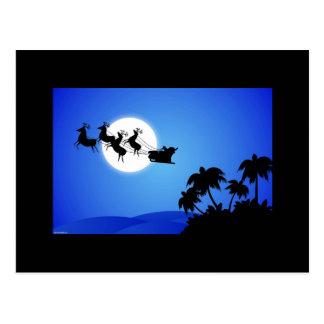 Santa Claus Tropical Christmas Tree Postcard