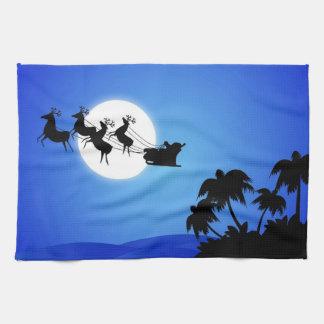 Santa Claus Tropical Christmas Tree Towel