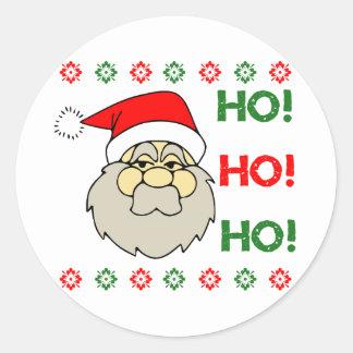 Santa Claus Ugly Christmas Sweater Ho Ho Ho Classic Round Sticker
