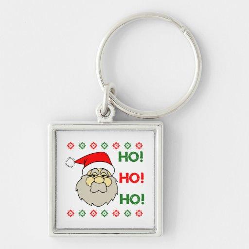 Santa Claus Ugly Christmas Sweater Ho Ho Ho Key Chain