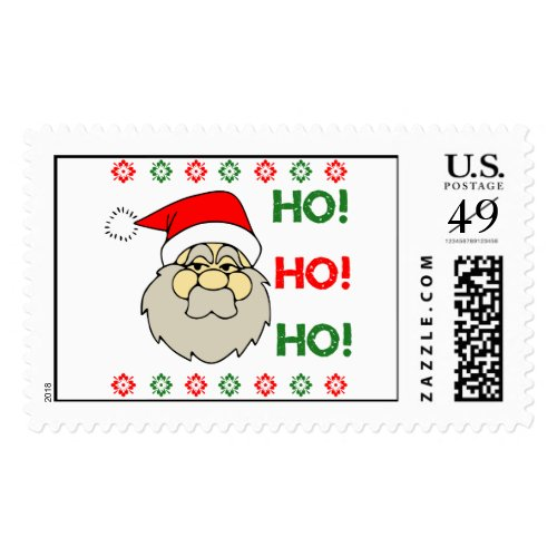 Santa Claus Ugly Christmas Sweater Ho Ho Ho Stamp
