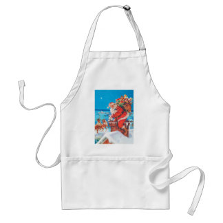 Santa Claus Up On the Rooftop Adult Apron