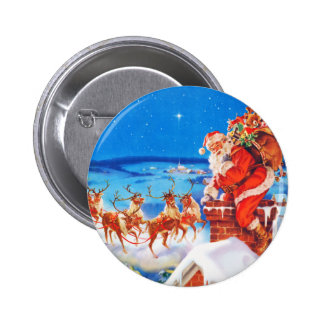 Santa Claus Up On The Rooftop In The Snow Button