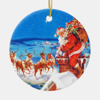 Santa Claus Up On The Rooftop In The Snow Ceramic Ornament