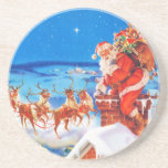 Santa Claus Up On The Rooftop In The Snow Beverage Coasters