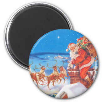 Santa Claus Up On  The Rooftop On Christmas Eve 2 Inch Round Magnet