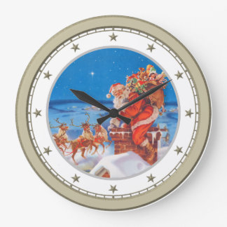 Santa Claus Up on The Rooftop on Christmas Eve Clock