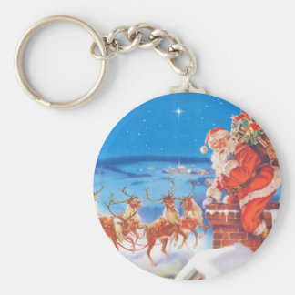 Santa Claus Up On  The Rooftop On Christmas Eve Keychain