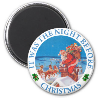 Santa Claus Up on The Rooftop on Christmas Eve Magnet