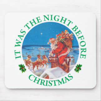 Santa Claus Up On The Rooftop On Christmas Eve Mouse Pad