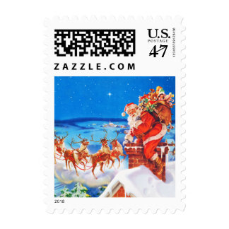 Santa Claus Up On The Rooftop Postage