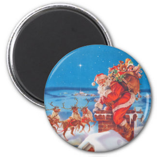 Santa Claus Up On The Rooftop With His Reindeer 2 Inch Round Magnet