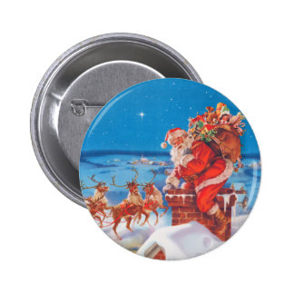 Santa Claus Up On The Rooftop With His Reindeer 2 Inch Round Button