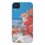 Santa Claus Up On The Rooftop With His Reindeer iPhone 4 Cases