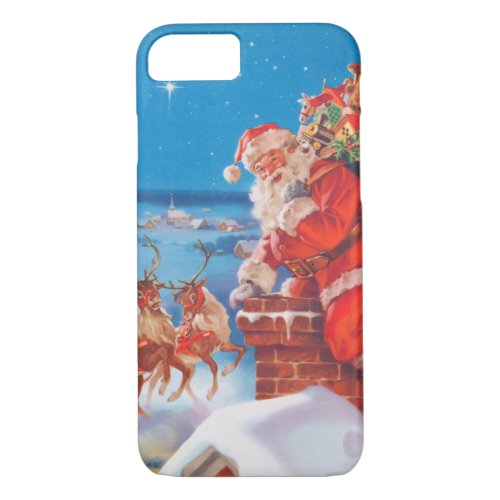 Santa Claus Up On The Rooftop With His Reindeer iPhone 87 Case