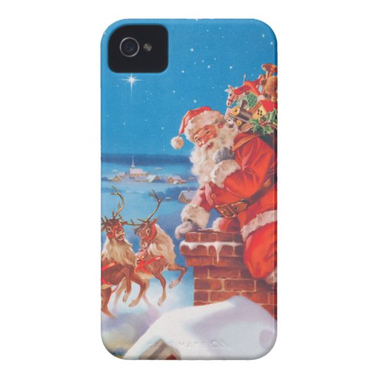 Santa Claus Up On The Rooftop With His Reindeer iPhone 4 Case
