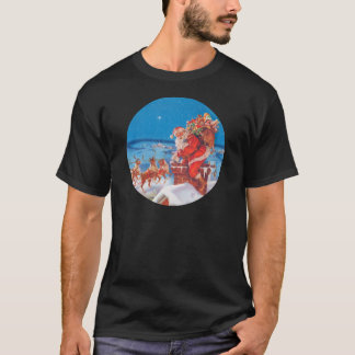 Santa Claus Up On The Rooftop With His Reindeer T-Shirt