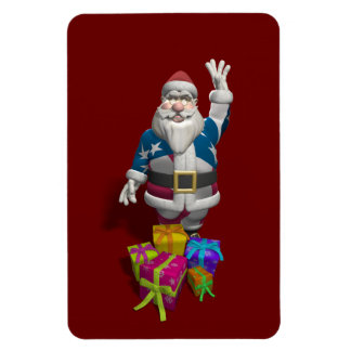 Santa Claus US Flag Jacket Rectangular Photo Magnet