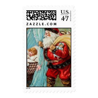 Santa Claus Victorian Baby Vintage Christmas Card Postage