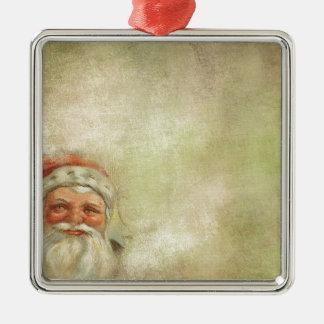 Santa Claus Vintage Background Metal Ornament