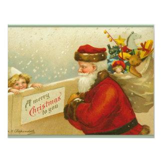 Santa Claus Vintage Merry Christmas Invitation