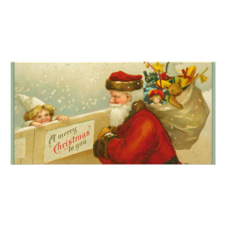 Santa Claus Vintage Merry Christmas Personalized Photo Card