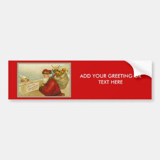 Santa Claus Vintage Merry Christmas Sticker Car Bumper Sticker