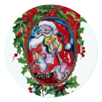 SANTA CLAUS VIOLINIST Hollyberry Crown Christmas Card